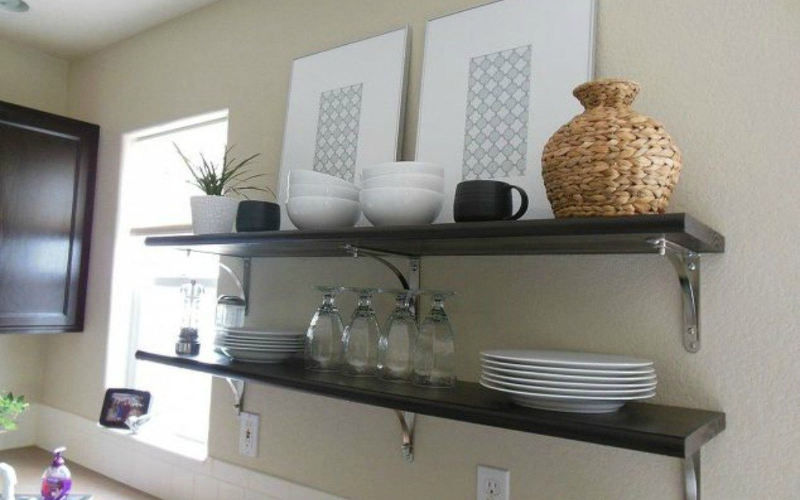 s 15 clever ways to add more kitchen storage space with open shelves, kitchen design, shelving ideas, storage ideas, Use them to display artwork