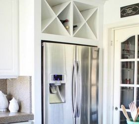 place open shelving above your fridge