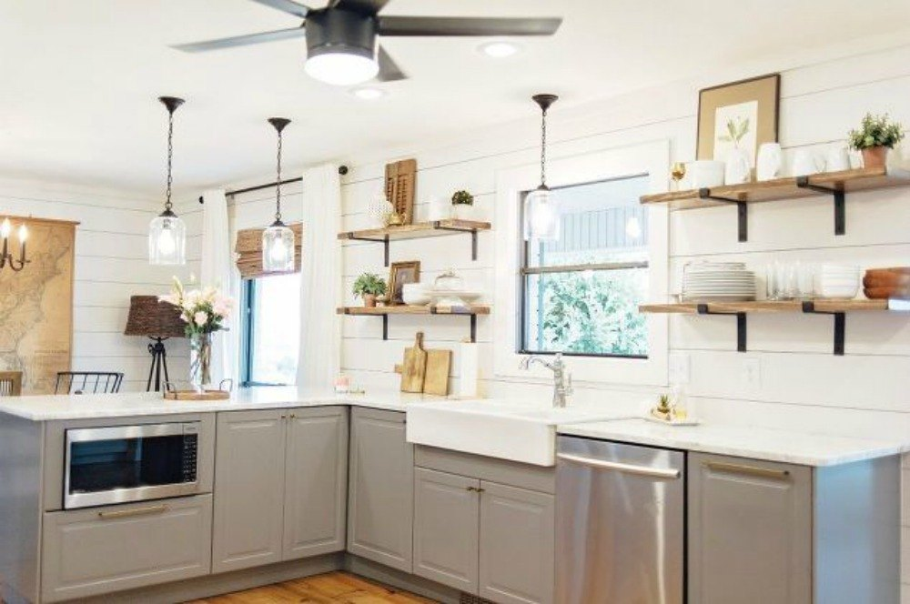 15 clever ways to add more kitchen storage space with open Open shelving