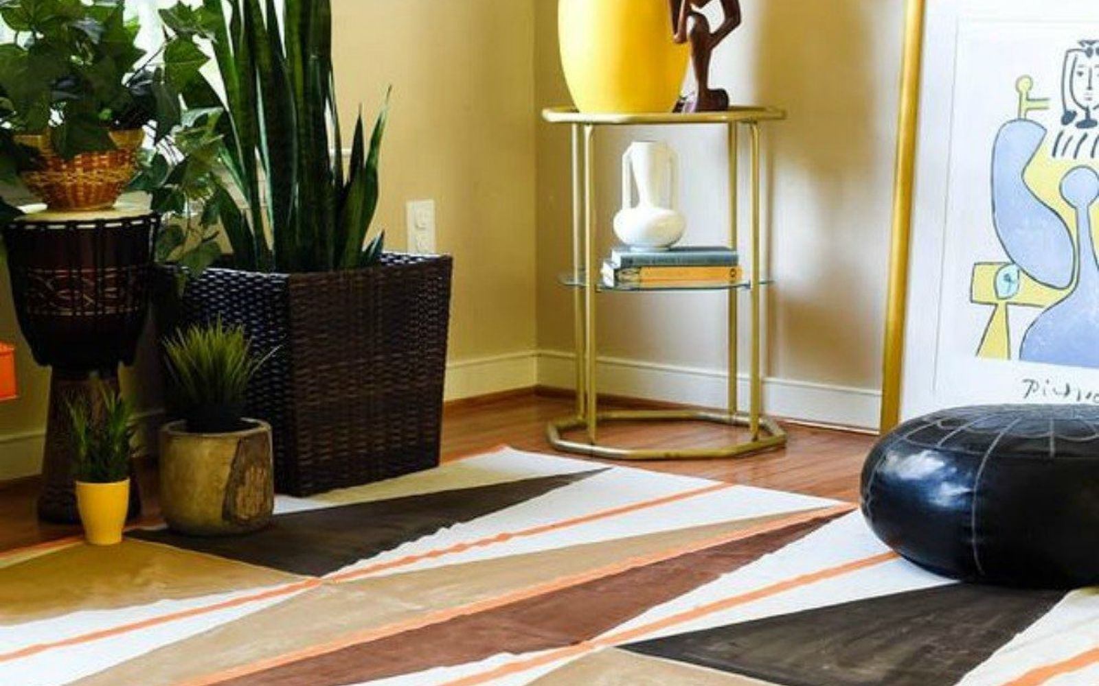s decorate your living room for under 10 with these 15 ideas, Paint a plain area rug into something pretty