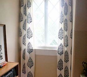 stencil a drop cloth for new curtains