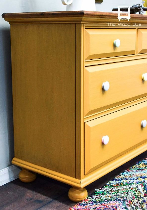 nursery dresser makeover a happy yellow for a boy or girl, bedroom ideas, painted furniture