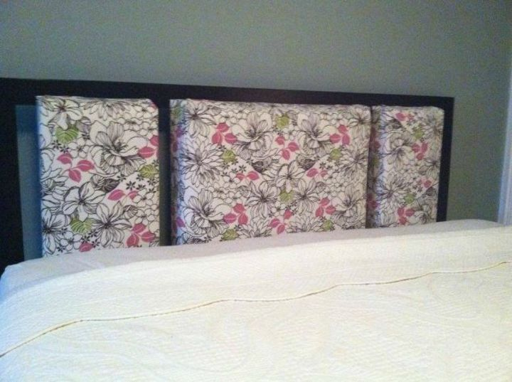 s 11 upholstered headboards you can make without sewing, This retro 70 s one made from flat sheets