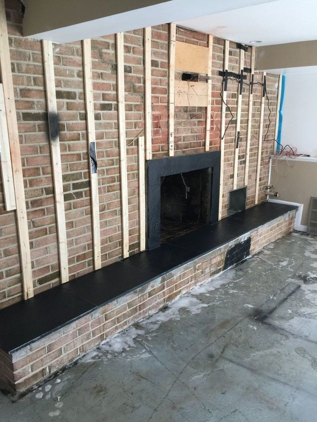 Full wall fireplace makeover gf22 roccommunity - Brick wall fireplace makeover ...
