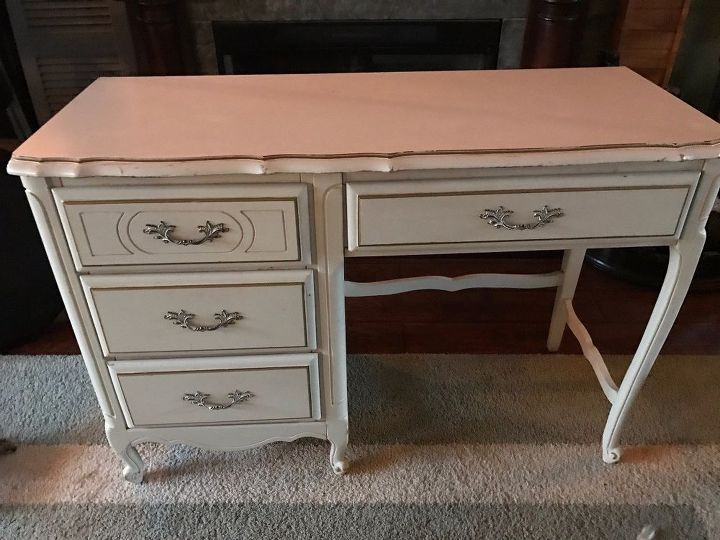 french provincial mixed media desk with stained artwork, crafts, painted furniture