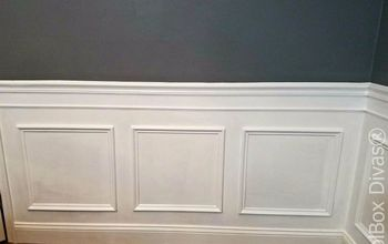 install picture frame moulding budget friendly wainscoting, wall decor, woodworking projects