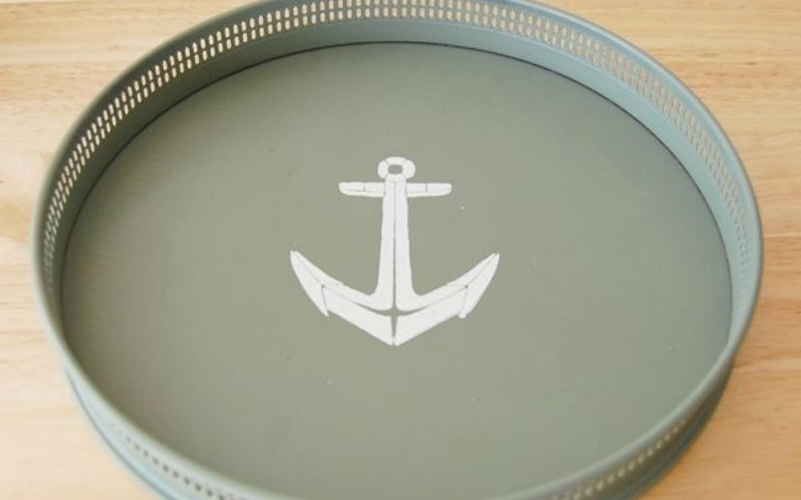 s 14 amazing things you can do with dollar store appetizer dishes, Stencil them with a nautical theme