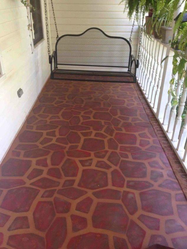 s 13 shocking ways to transform your concrete floor, concrete masonry, flooring, Paint it into a cozy stone porch