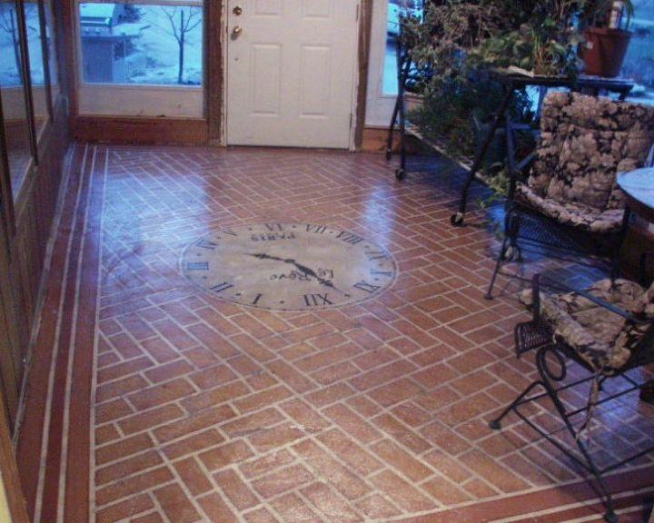 s 13 shocking ways to transform your concrete floor, concrete masonry, flooring, Transform it into a brick floor