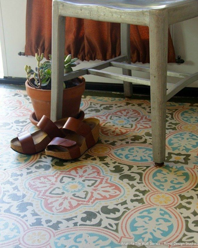 s 13 shocking ways to transform your concrete floor, concrete masonry, flooring, Or stencil it with a vibrant pattern