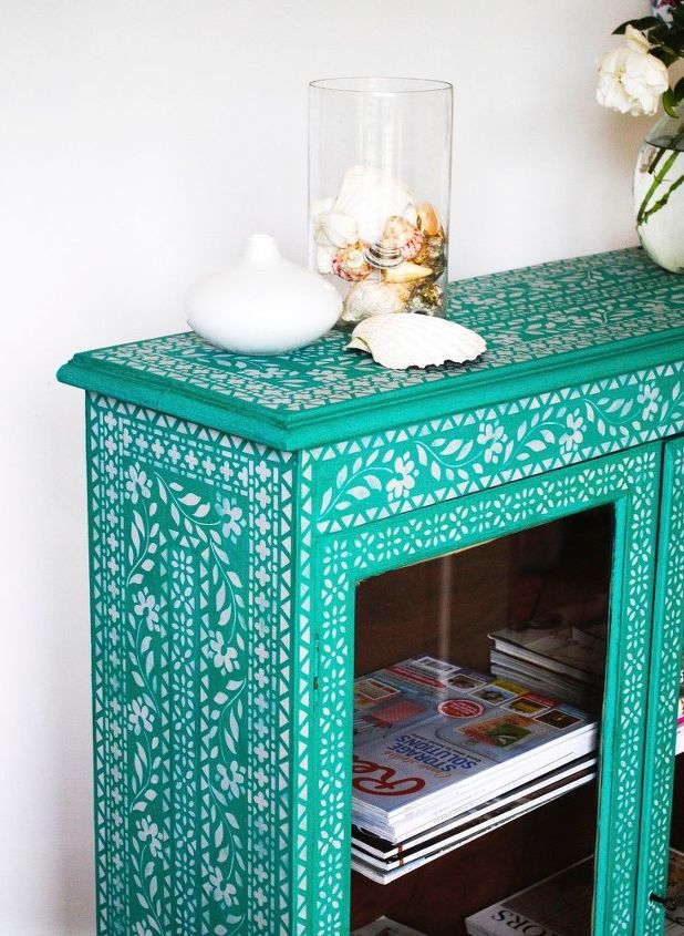 stenciled glazed cupboard