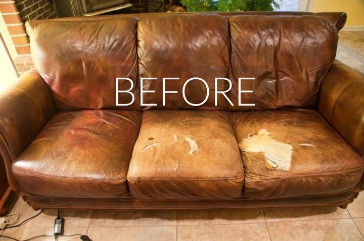 s hide your couch s wear and tear with these 9 ingenious ideas, painted furniture, Before Tired and saggy