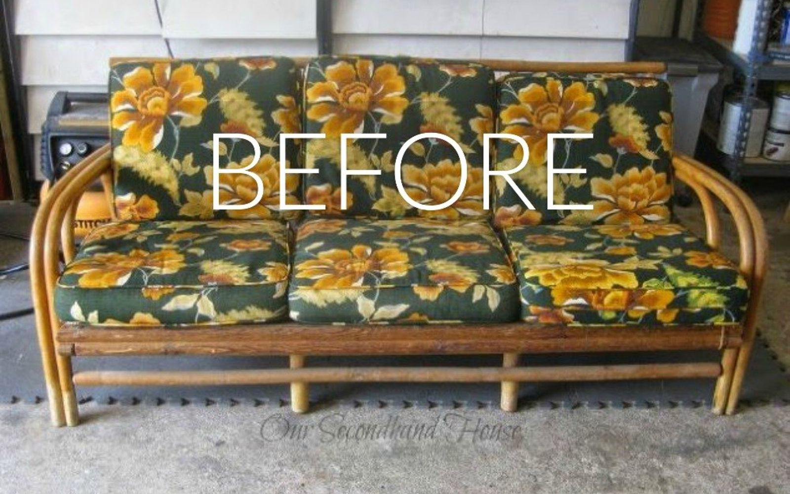 s hide your couch s wear and tear with these 9 ingenious ideas, painted furniture, Before A rotten retro rattan