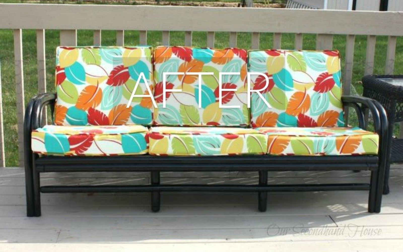 s hide your couch s wear and tear with these 9 ingenious ideas, painted furniture, After A perfect patio piece
