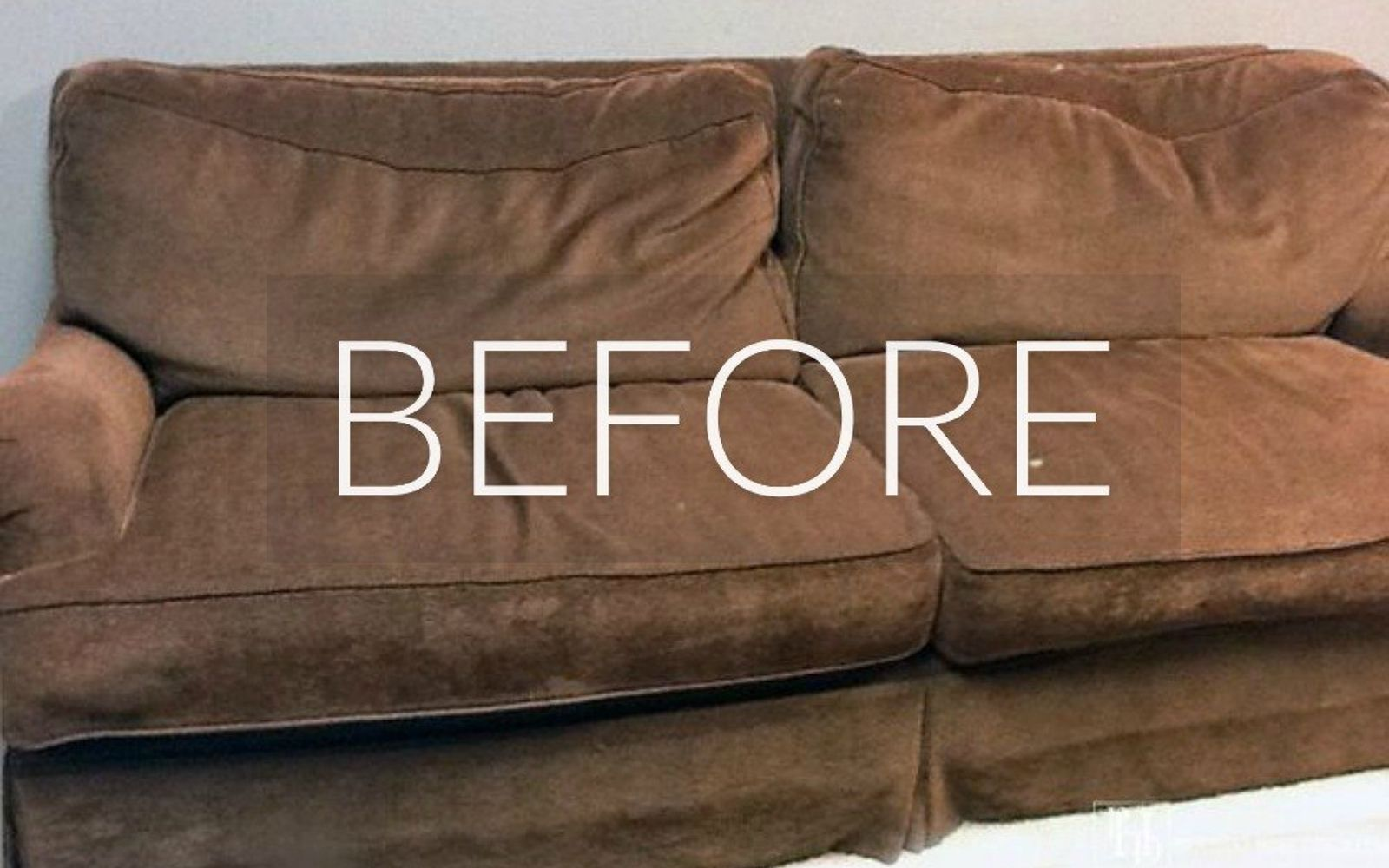 s hide your couch s wear and tear with these 9 ingenious ideas, painted furniture, Before Boring brown blur