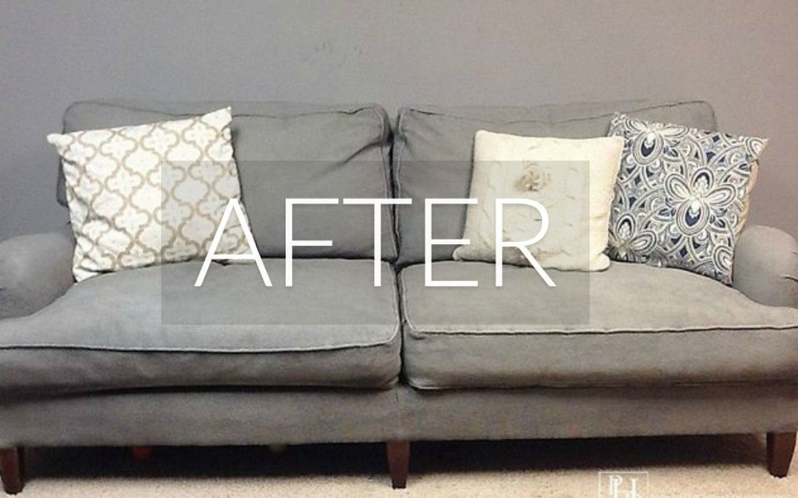 s hide your couch s wear and tear with these 9 ingenious ideas, painted furniture, After A vision in chalk paint