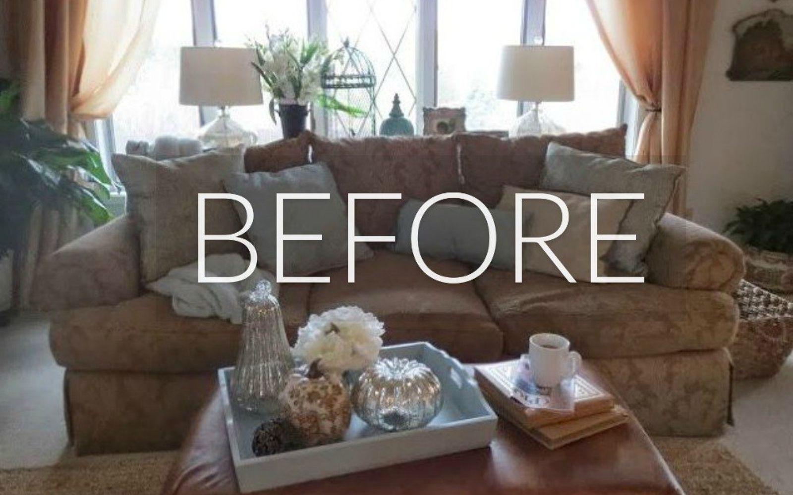 s hide your couch s wear and tear with these 9 ingenious ideas, painted furniture, Before Outdated Chintz