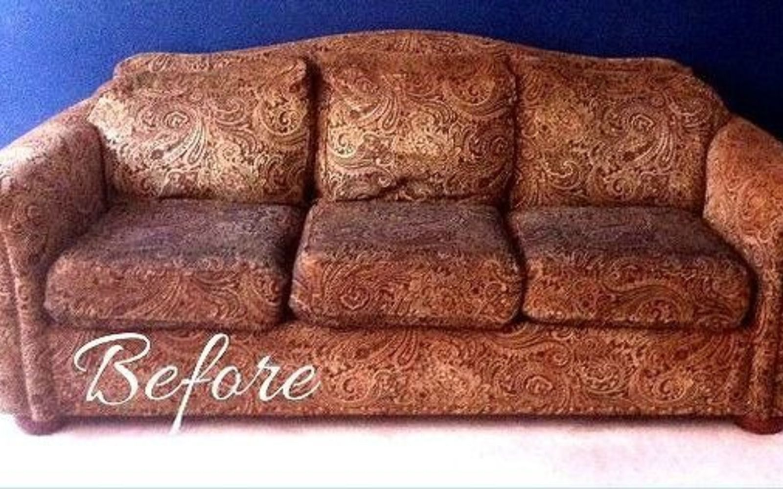 s hide your couch s wear and tear with these 9 ingenious ideas, painted furniture, Before Thrift store disaster