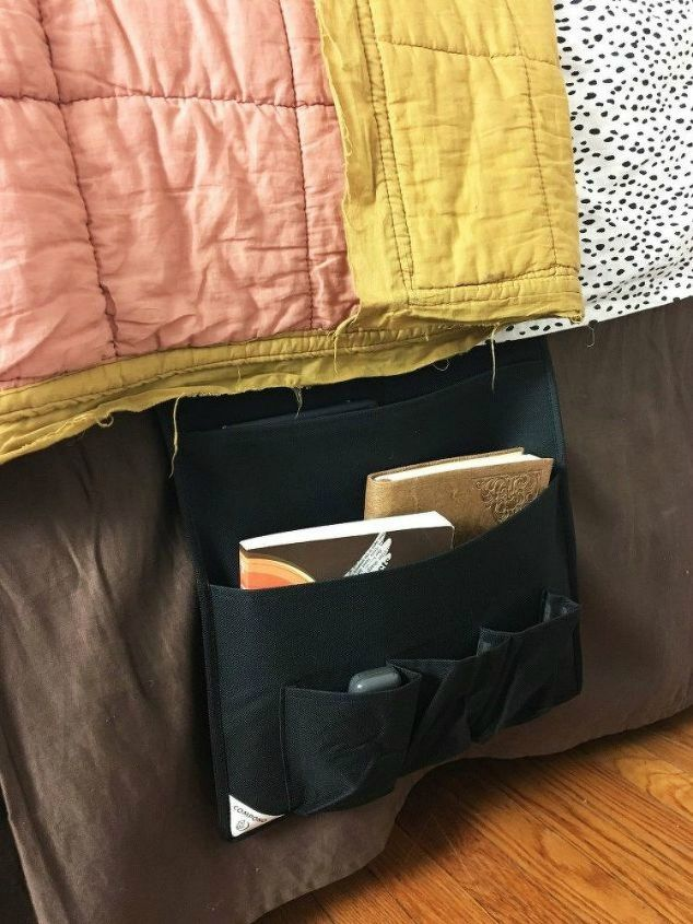 s 15 space saving hacks for your tight bedroom, bedroom ideas, Turn a door organizer into a night stand