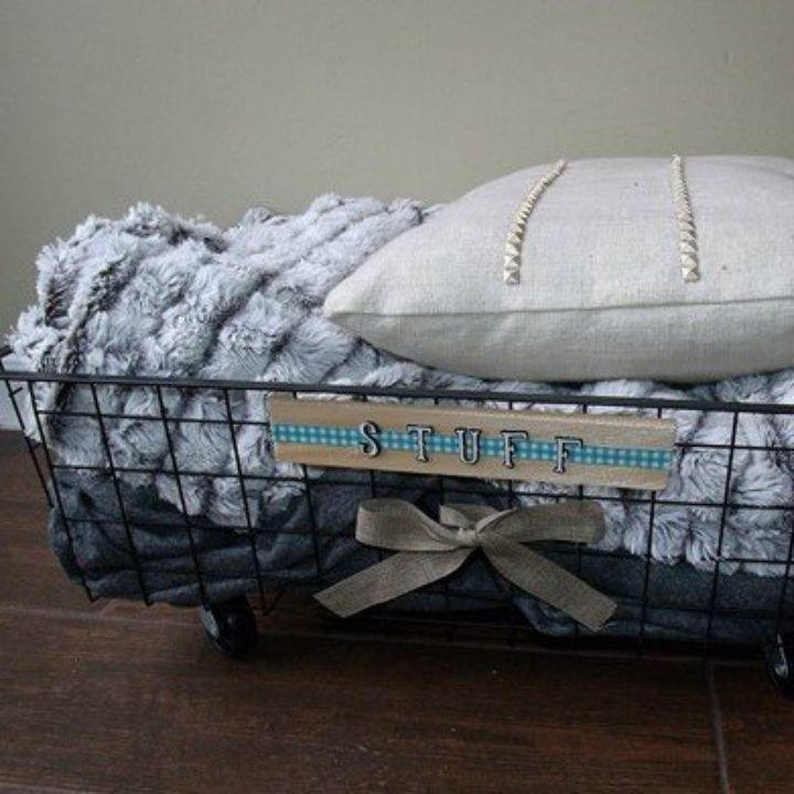 s 15 space saving hacks for your tight bedroom, bedroom ideas, Turn a wire basket into rolling linen storage
