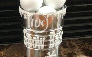 snow ball tin container diy