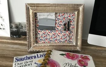 framed desk organizer, organizing, painted furniture