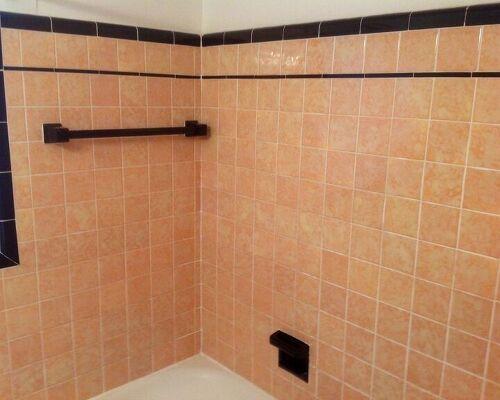 My 1937 Original Peach And Black Tiled Bathroom