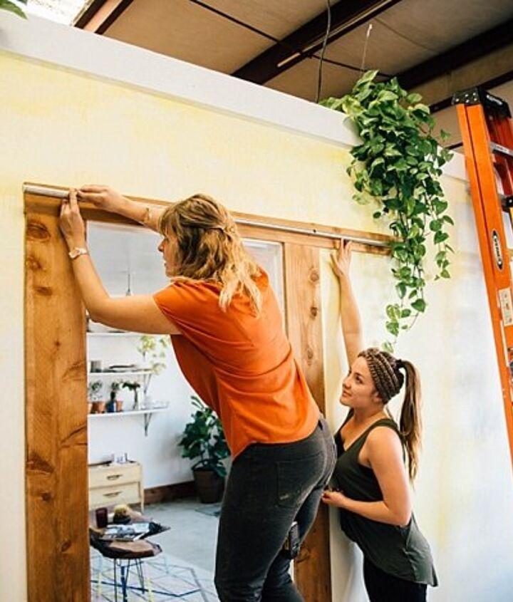 salvaged door turned sliding barn door, doors, outdoor living, repurposing upcycling