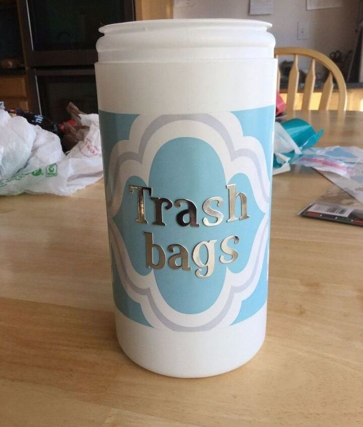 trash bag storage container, storage ideas
