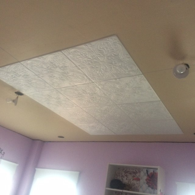 faux tin ceiling, wall decor