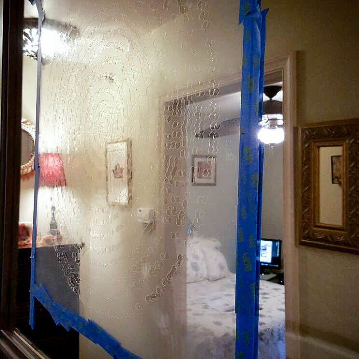 how to stencil an old mirror back to beautiful, home decor, how to