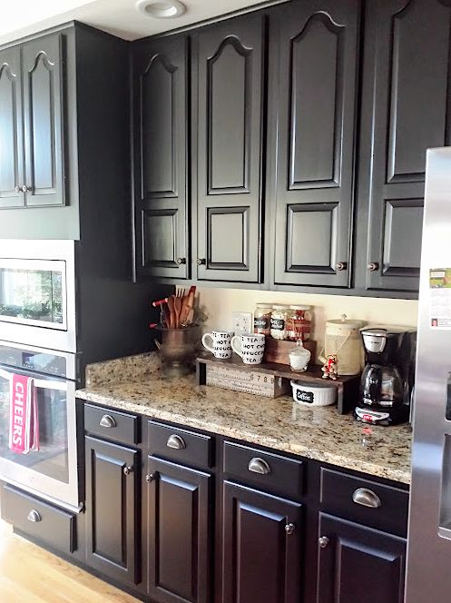 Black kitchen cabinets makeover reveal hometalk for Kitchen cabinets makeover