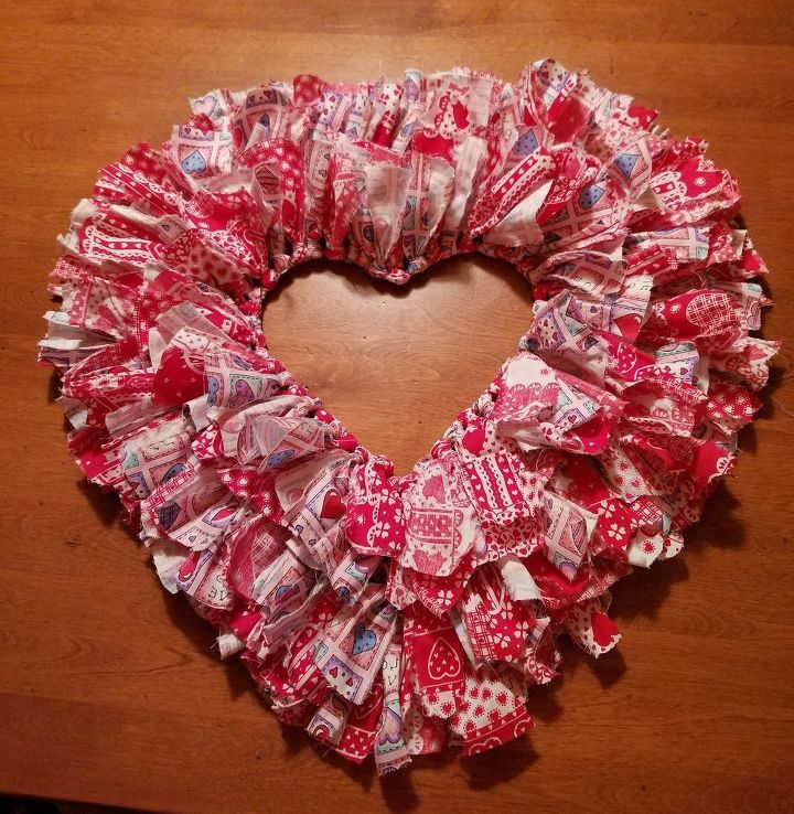 valentine rag wreath, crafts, seasonal holiday decor, valentines day ideas, wreaths