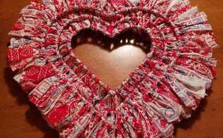 valentine rag wreath, crafts, seasonal holiday decor, valentines day ideas, wreaths