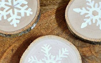 DIY Wood Slice Snowflake Coasters