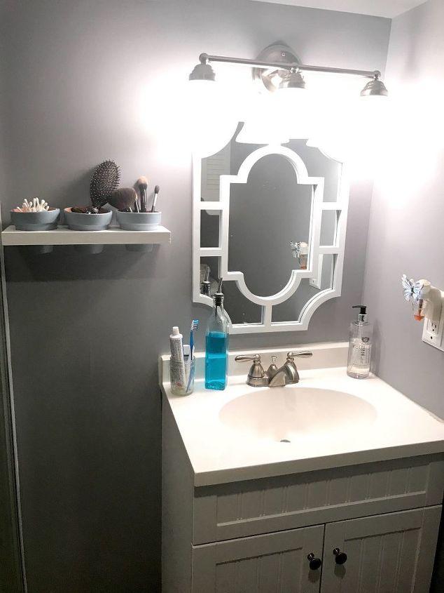 floating terra cotta pot shelf bathroom organization, bathroom ideas, organizing, shelving ideas