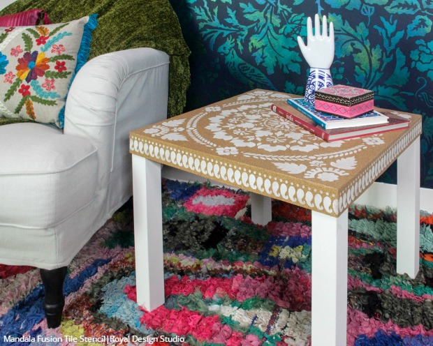 ikea hack cork furniture stencil tutorial, how to, painted furniture