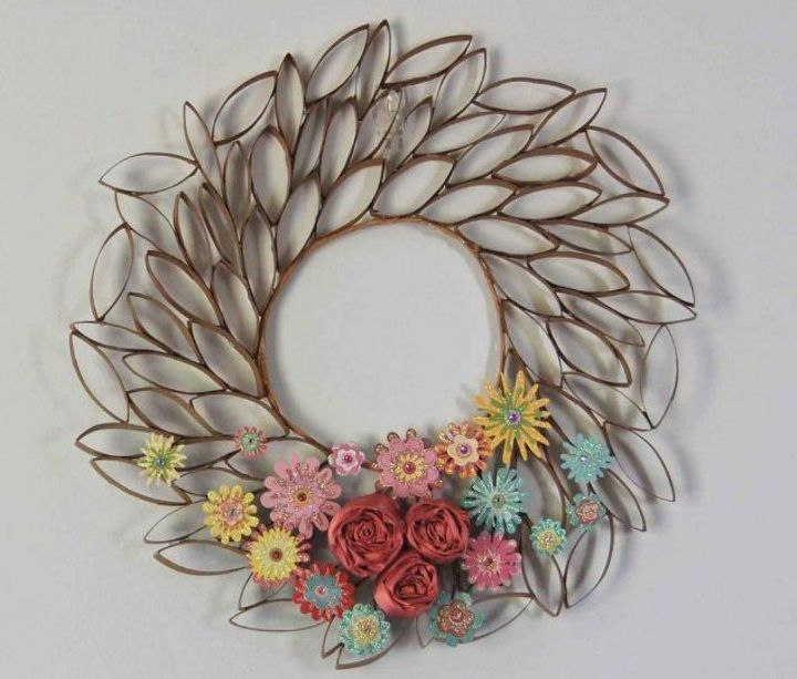 s grab toilet paper tubes for these 14 stunning ideas, bathroom ideas, Weave them into a petal wreath for your wall