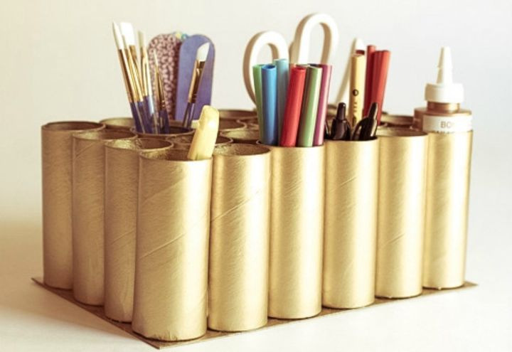 s grab toilet paper tubes for these 14 stunning ideas, bathroom ideas, Collect them into a cool craft caddy