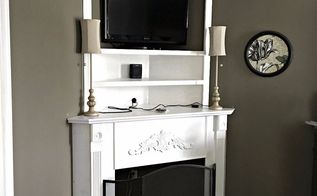 diy fireplace mantel creating usable corner space, fireplaces mantels