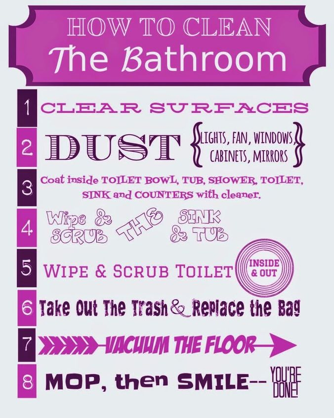 t how to clean the bathroom printable, bathroom ideas, cleaning tips, how to