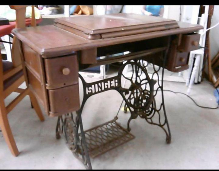 Antique Sewing Cabinet Makeover To A Desk Hometalk