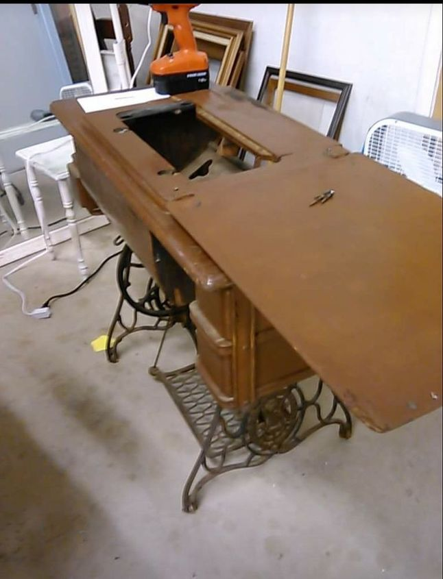 antique sewing cabinet makeover to a desk, kitchen cabinets, kitchen  design, painted furniture - Antique Sewing Cabinet Makeover To A Desk Hometalk