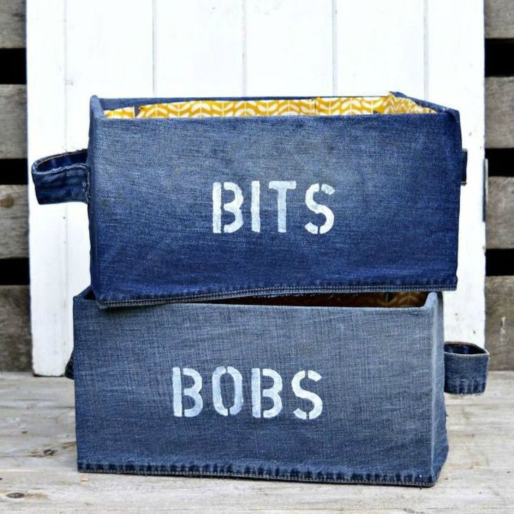 s 19 gorgeous reasons to dig your old jeans out of the closet, crafts, repurposing upcycling, Cover an IKEA box with denim to look cuter