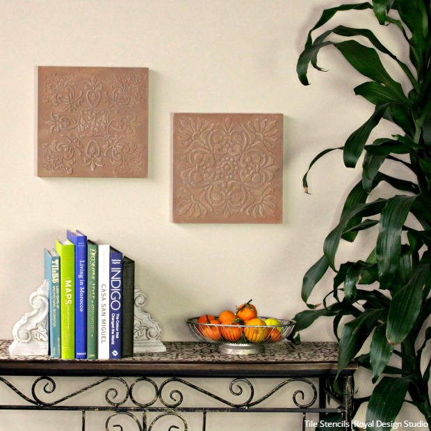 How to Stencil DIY Terracotta Wall Art Tiles | Hometalk