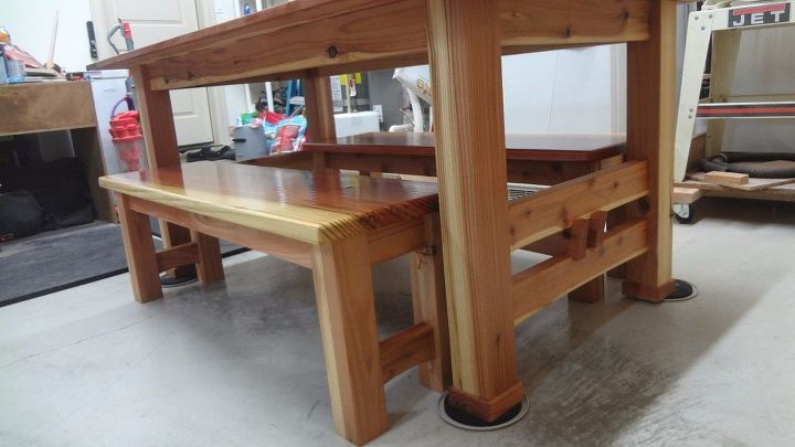 dining table made from tennessee red cedar and 2x6 redwood boards, landscape, painted furniture, woodworking projects