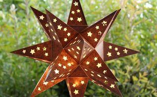 diy faux metal star lantern, outdoor living
