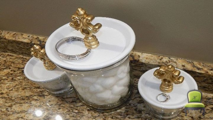diy bathroom canisters and jewelry holder set, bathroom ideas