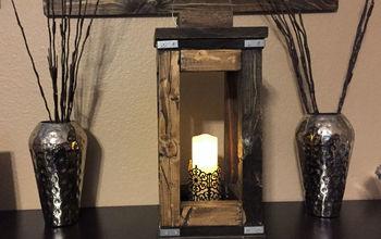 diy rusic wood lantern, outdoor living