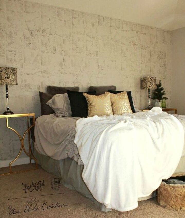 s 13 stylish ideas you ll want to steal for your boring bedroom, bedroom ideas, Stencil your walls with stamps